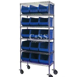 Mobile Wire Shelving with Stackable Bin Storage 6x6