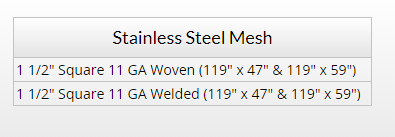 Stainless Steel Mesh Chart