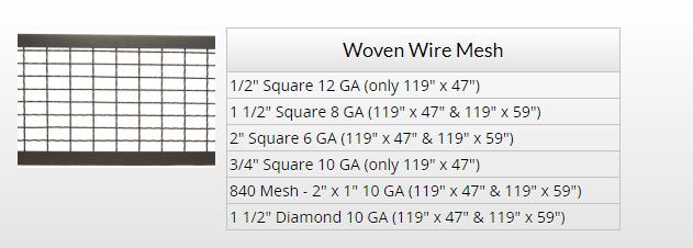 wovem wire mesh chart