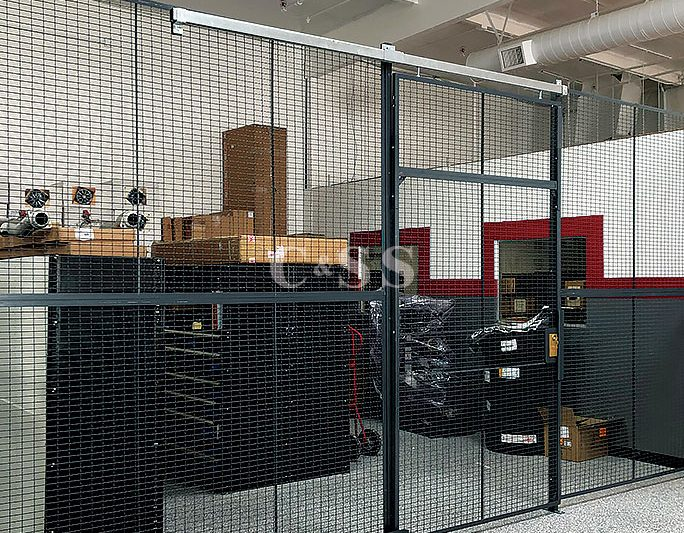 Secured Wire Cage Storage System That Is Storing Expensive Parts