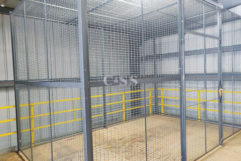 Secure Storage Cage On A Preexisting Mezzanine