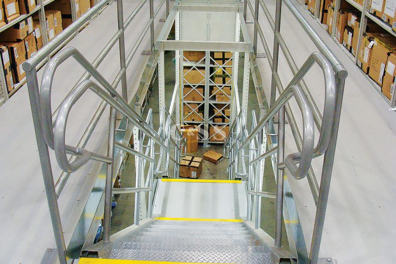 ADA Compliant Stairs For Pallet Racking Storing Clothing