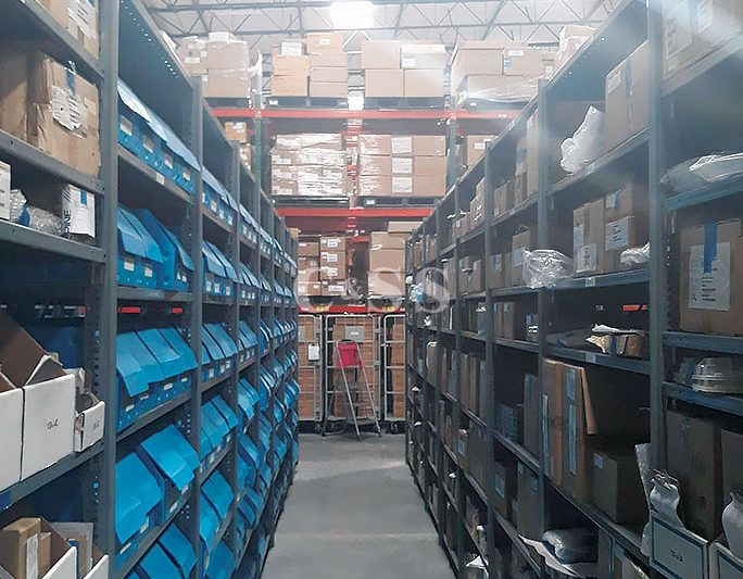 Aisle of Pallet Rack Shelving To Store Car Electronics In Warehouse