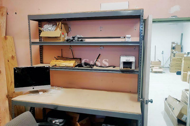 Storage for Skateboard Clothing On Shelving Workbench